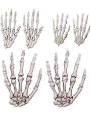 BESPORTBLE Halloween skelet handen terror griezelbotten kunststof skelet schedel handen model voor spookhuis buiten binnen zombiecosplay accessoires Halloween party decoratie ornament 3 paar