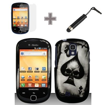 (3 Items Combo : Case - Screen Protector Film - Stylus Pen) Rubberized Black Spade Skull Snap on Case Hard Case Skin Cover Faceplate for Samsung Gravity Smart T589 ()