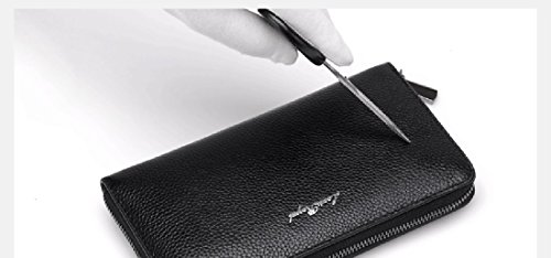 Genuine Clutch Men Holder Zipper Zeafin Blue Purse Handbag Card Long Bag Leather Wallet Dark v5IvnFq4d