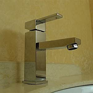 FL Contemporary Chrome Finish Centerset One Hole Single Handle Solid Brass Bathroom Sink Faucet