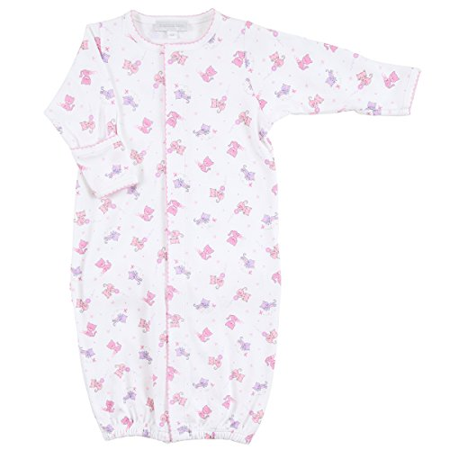 Magnolia Baby Baby Girls Kitty Kat Printed Ruffle Converter Gown Pink Small
