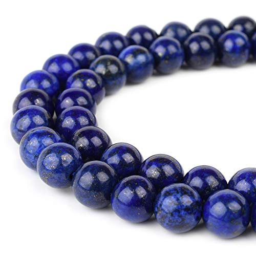 RVG 6mm Lapis Lazuli Beads Round Gemstone Loose Stone Mala 15.5 in Strand for Jewelry Making (Approx 63-65 pcs)