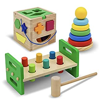 WALIKI Pounding Bench with Hammer, Wood Shape Sorter Box, Rainbow Stacker Complete Set (3 Wooden Toys Bundle)