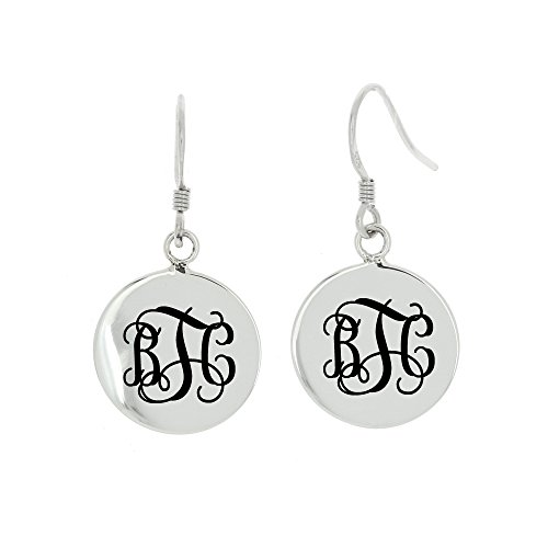 Round Monogrammed Earrings - Polished Sterling Silver Personalize Monogram Dangling Round Disc Earrings
