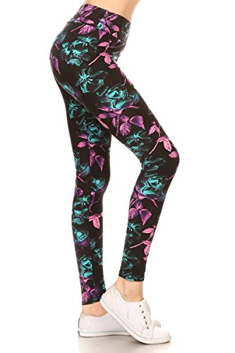 LYR-R663 Green Rose Printed Yoga Leggings, One Size