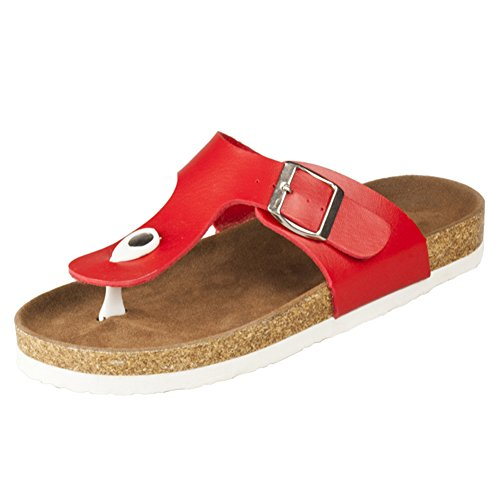 BigTree Sandals for Women T Strap Buckle Open Toe Gladiator Beach Thong Flat Summer Flip Flop Red