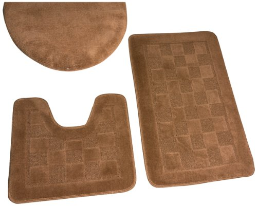 Dainty Home 3-Piece Bath Set with Rug/Contour/Lid Cover, Brown (Bathroom Contour Rug Sets)