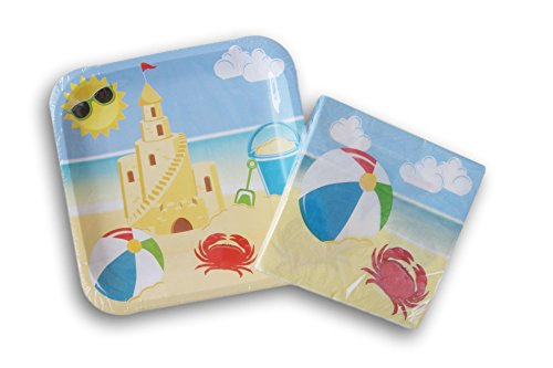 Beach Party Plate - Beach Themed Birthday Party Supply Kit - Plates and Napkins