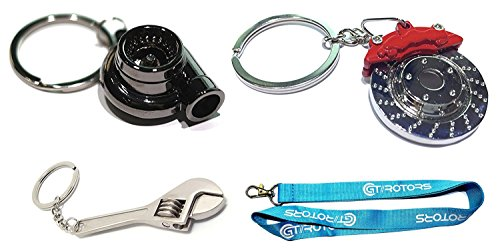 4PC Auto Gift Set - Spinning Turbo Keychain & Rotor Key Chain & Micro Wrench Keychain (Bonus: GT//Motorsports Lanyard) - Key Ring Auto Set