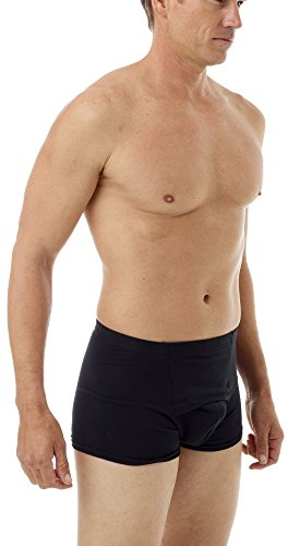 Underworks Cotton Spandex Ultra Light Compression Boxers Medium Black
