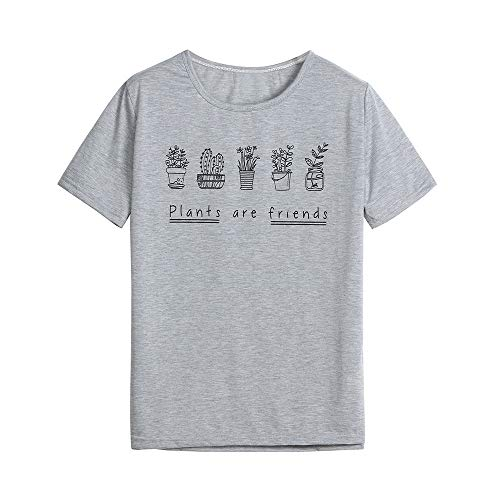 TOPKEAL Camisas Mujer Manga Corta Suelta Estampado De Letras De El ...