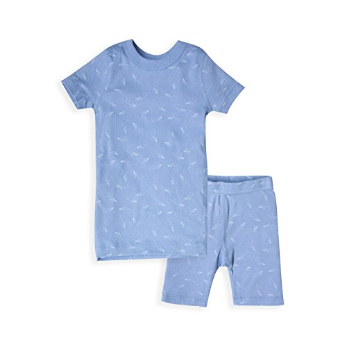 Skylar Luna Boy's Short Sleeve Blue Airplane Pajama Set - 100% Organic Cotton Shirt Shorts- Airplane - Sizes 4