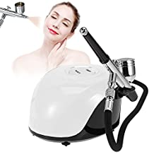 Beauty Airbrush Makeup System Kit, 3 Level Pressure Adjustable Compressor Cosmetic Spray Gun for Face Moisturizing, Nail art, Temporary Tattoos (White)