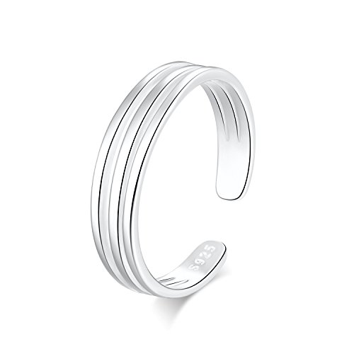 Cuff Silver Ring - 925 Sterling Silver Triple Line Minimalist Open Cuff Toe Ring Band Adjustable For Women Girls Size 2-4