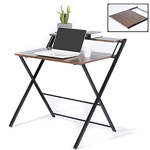 GreenForest Folding Desk for Small Space, 2 Tiers Computer Desk with Shelf Home Office Small Desk with Metal Legs, No Assembly Required, Espresso (Decorating A Sofa Table Behind A Couch)