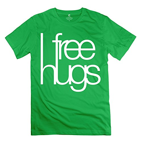 Yisw Men's Free Hugs T-Shirt XS ForestGreen 100% Cotton Funny Tees Shirt