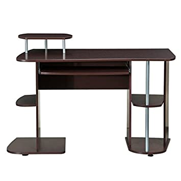 Complete Computer Workstation Desk With Storage. Color Chocolate