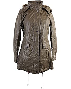 Calvin Klein Womens Water Resistant Coated Anorak Jacket Green S