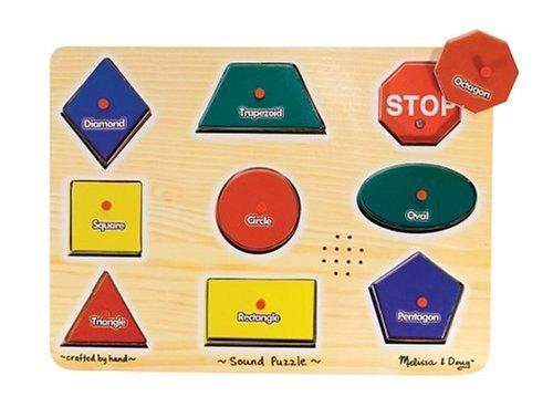 Melissa & Doug Shapes Sound Puzzle - Wooden Peg Puzzle With Sound Effects (9 pcs) (Board Puzzle Name)