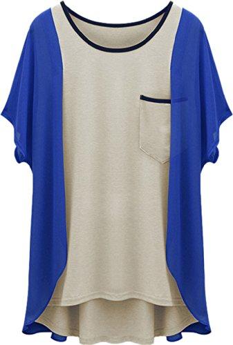 ADS Women's Fashion Plus Size Short Sleeve Plain Blouse XXXXL Blue (Asia Size)