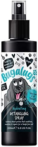 BUGALUGS Dog Detangler Spray – leave In conditioner spray for de matting. No tangles. Professional dog grooming formula contains Wheat protein. Pet detangling spray knot removal (200ml)