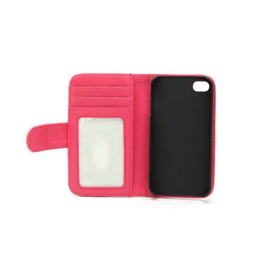 Pink Apple iPhone 5 5S 5LP74 Leather Wallet Case Cover Flamingo