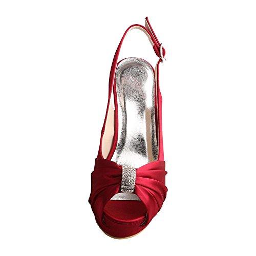 Double Bride Open Wedding Sandal Wine Toe Wedopus Singback Red Style Women's Platform MW700 qwcYRvF