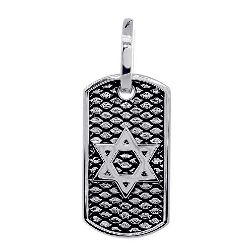 31mm Hardcore Metal Snake Skin Star of David Pendant Dog Tag in Sterling Silver by Sziro Jewish Jewelry (Image #3)