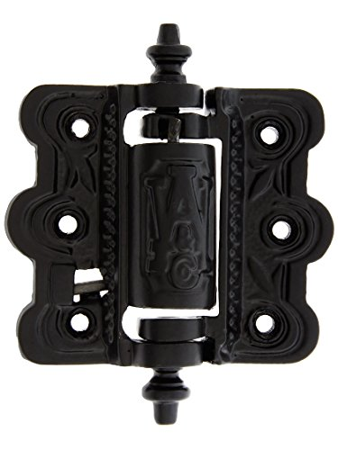 - House of Antique Hardware R-06SE-0700480 Decorative Cast Iron Screen Door Hinge with Acorn Finials in Matte Black