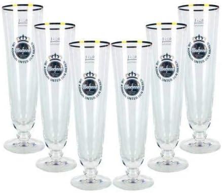 Warsteiner Bier Pils - Juego de Vasos de Cerveza (6 Vasos de 0,3 l calibrados + 1 Vaso Goldberg Intense Ginger de 0,15 l con Soporte Incluido)