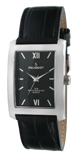 Peugeot Men's 2033BK Silver-Tone Black Leather Strap and Black Dial Watch ()