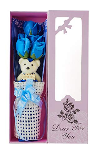 Adabele Gifts I Love You Blue Flower Bouquet Scented Soap Roses with Cute Teddy Bear Long Lasting Women Girls Anniversary Birthday Mother's Day Valentine's Gift -