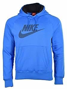 Nike Men's AW77 Futura Logo Pullover Hoodie-Blue-Large