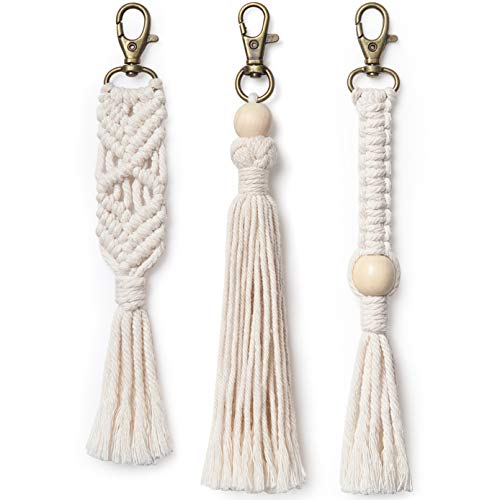 Mkono Mini Macrame Keychains Boho Bag Charms with Tassels Handcrafted Accessory for Car Key Holder, Purse, Phone Wallet, Unique Wedding Gift,Natural White, 3 -