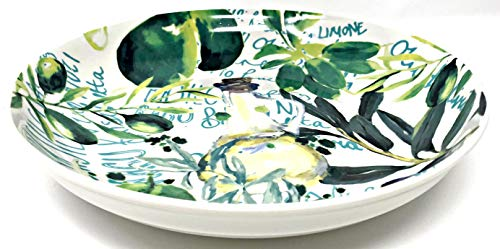 Large White Round Light Greens Yellow & Purple Olives & Leaves Design | Pasta | Serving Bowl | 11 inches x 2 inches ()