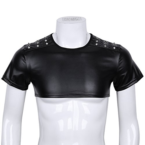 iiniim Sexy Men's Faux Leather Tank Top T-Shirt Short Sleeve Studded Muscle Crop Tops Black M