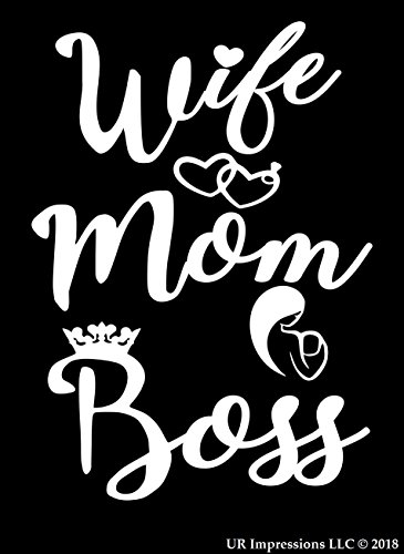 UR Impressions MWht Wife-Mom-Boss Decal Vinyl Sticker Graphics for Cars Trucks SUV Vans Walls Windows Laptop|Matte White|5.5 X 4.4 Inch|URI307-MW