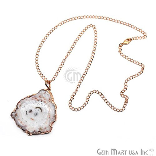 Solar Druzy Pendant, 54x46mm Gold Electroplated Gemstone Druzy Necklace Pendant 24'' Chain (DP-54819)