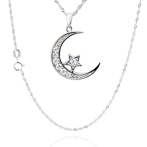 "Sterling Silver Cubic Zirconia Crescent Moon Star Pendant Necklace 18"" Chain"