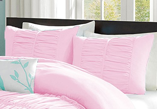 100% Egyptian Cotton 400 Thread Count Center Gathered Mimi Ruffled Pillow Shams Euro/Square/Continental/European Solid Pink