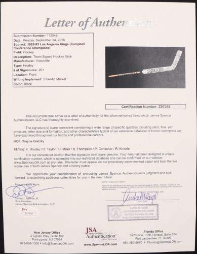 1992 93 Los Angeles Kings Team Signed Victoriaville Hockey Stick Gretzky + JSA Certified Autographed NHL Sticks