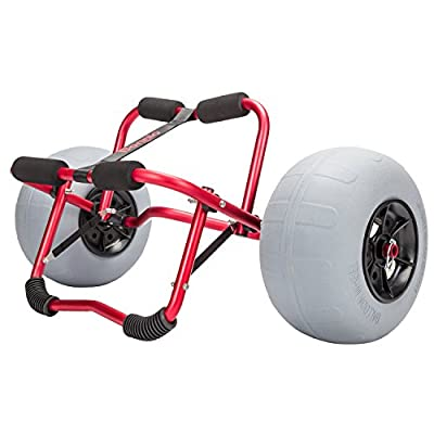 """Bonnlo Kayak Canoe Boat Cart Carrier Dolly Trolley with 12"""" Big Beach Balloon Tires Wheels - Free Pump and Strap - Perfect for Soft Sand"""