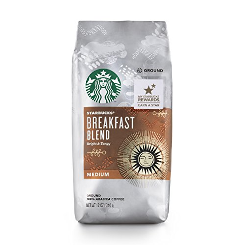 Starbucks Breakfast Blend Medium Roast Ground Coffee, 12-Ounce Bag (Pack of 6)