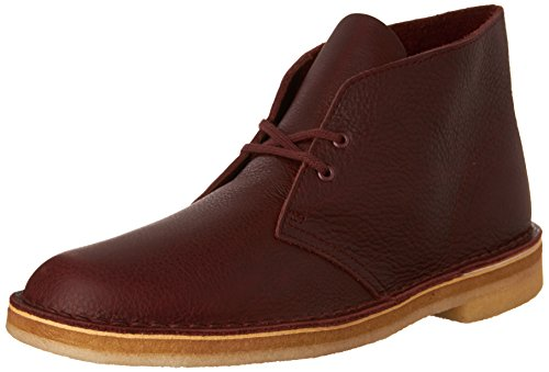CLARKS Men's Desert Boot Burgundy Tumbled Leather Boot (Best Price Clarks Desert Boots)