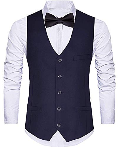 WANNEW Men's Vests Suit Vest Tuxedo Vest Dress Vest with 3 Pockets for Suit or Tuxedo (Large, Navy) ()