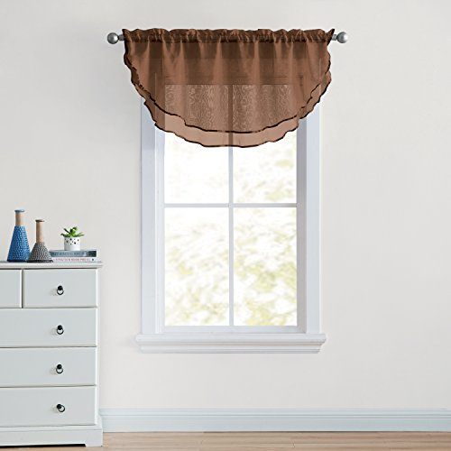 (OKSLO VCNY Home Ultra Luxurious Sheer Voile Double Layered Ascot Window Valance - Choc)