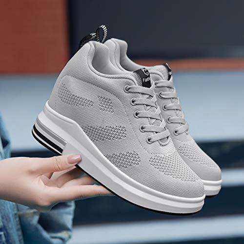 Casual Respirant Gris Chaussures Maille Baskets Lacets Vulcanisé Talon Femmes Wedge Gootag Cacher Haut qnwC81Z0