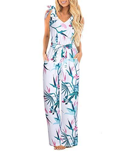 STYLEWORD Women Jumpsuits Wide Leg Floral V Neck Sleeveless Jumpsuit with Pocket(Floral05,L)