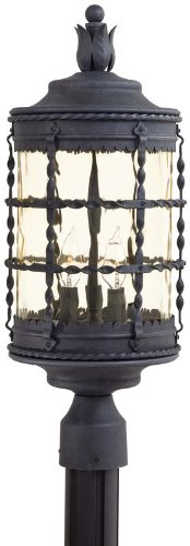 The Great Outdoors 8885-A39 Mallorca 3-Light Outdoor Post in Spanish Iron