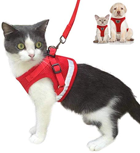 Cat Harness and Leash Escape Proof and Dog Harness Adjustable Soft Mesh Vest Harness for Walking with Reflective Strap for Pet Kitten Puppy Rabbit -Red,XS from fuleier